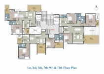 1st,3rd,5th,7th,9th & 11th Floor Plan - A Wing