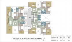 Typical 2nd,4th,6th,8th & 10th Floor Plan - D Wing
