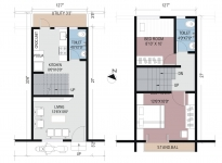 1 & 2  BHK Row Bungalow - Plan