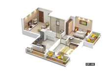 2 BHK Cut Section - CP 05