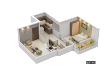 1 BHK Cut Section - CP 14