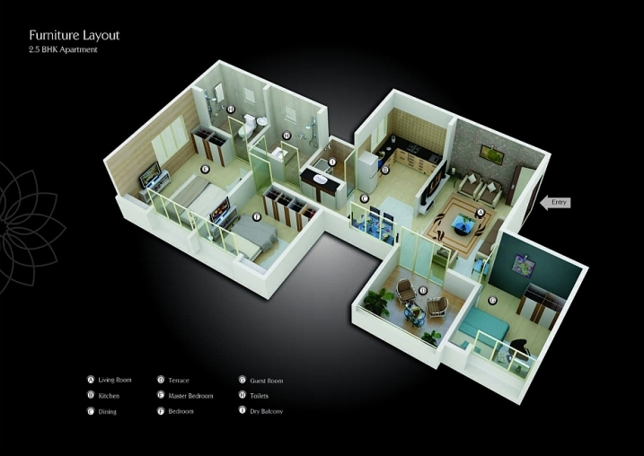 2.5 BHK Cut Section
