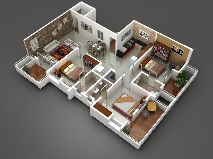 Deluxe 3 BHK cut section area : 1560 to 1600 sqft