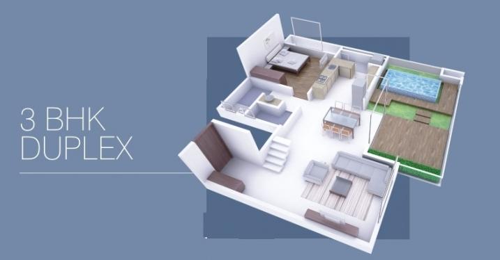 3 BHK Duplex Cut Section