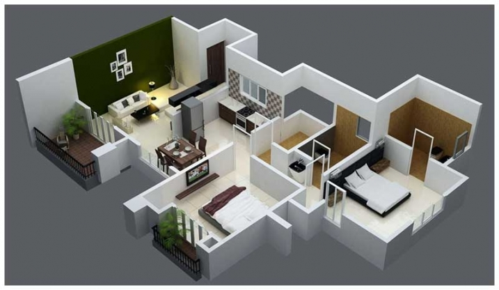 2 BHK Flat 3D View