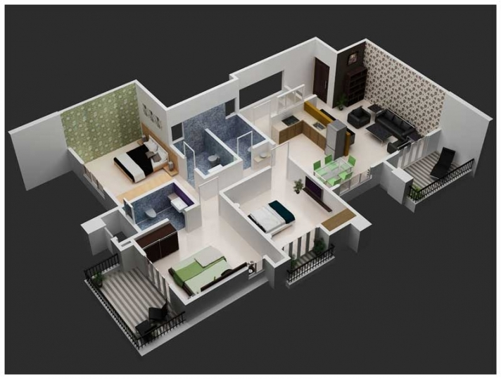 3 BHK Flat 3D View