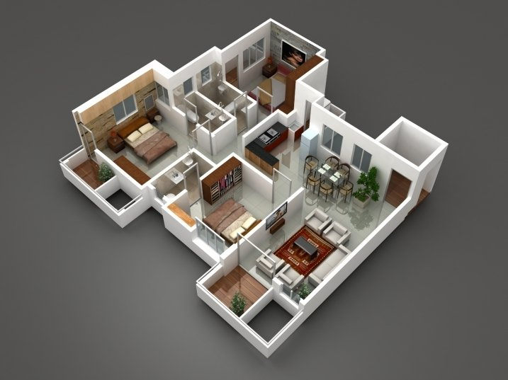 Semi deluxe 3 BHK cut Section area : 1260 to 1320 sqft
