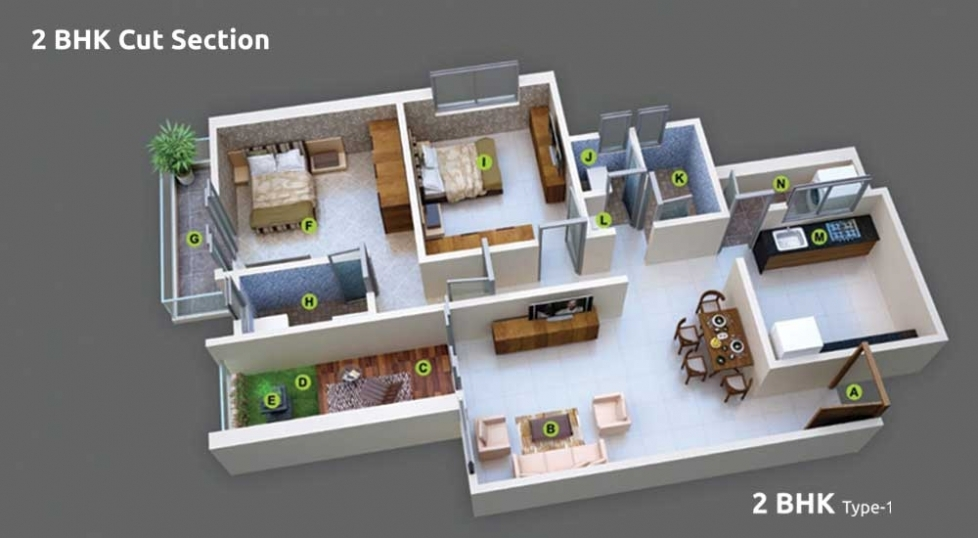 2 BHK Cut Section - Type 1