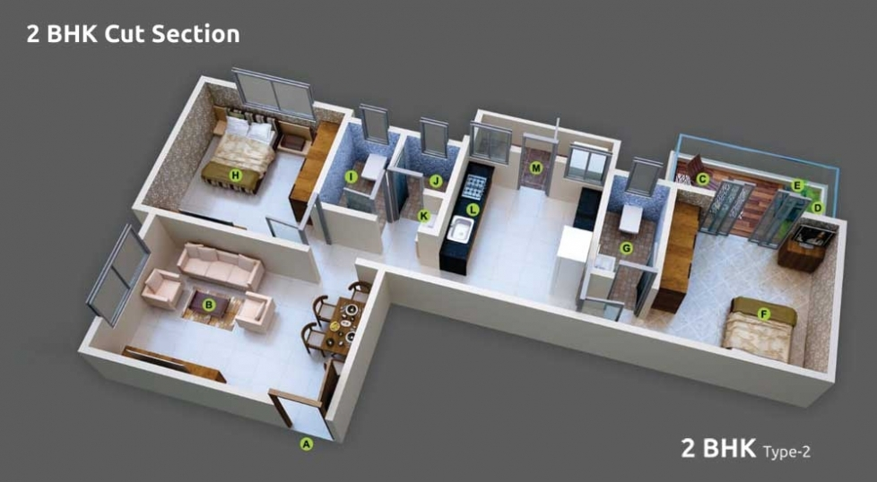 2 BHK Cut Section - Type 2