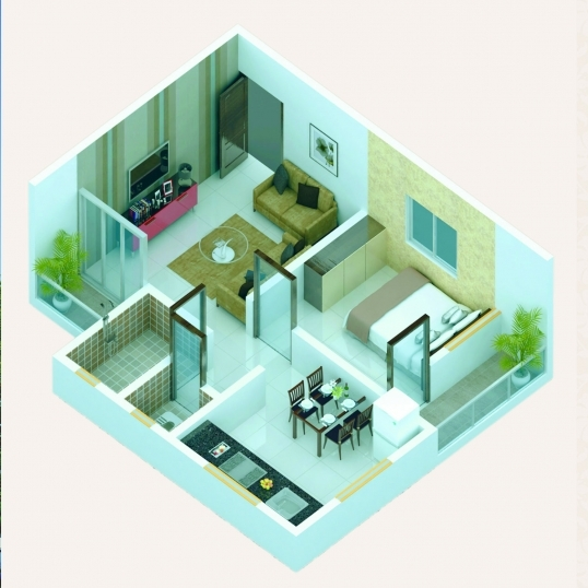 1 BHK - Cut Section